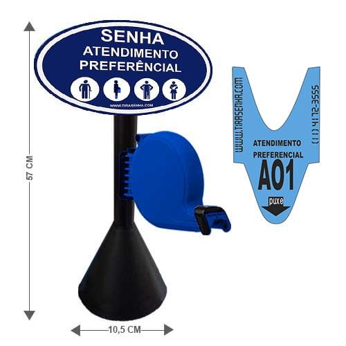 Dispensador de Senhas Completo c/ Suporte Pedestal de Balcão, Placa Retire sua Senha Azul - Preferencial
