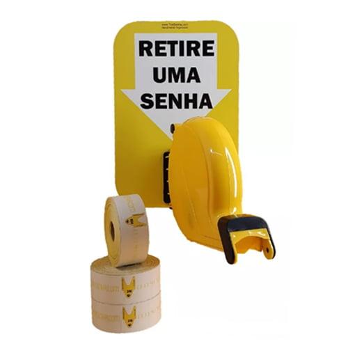 Dispensador de Senha Bico de pato Senhas Numeradas e Placa Retire Sua Senha Amarelo