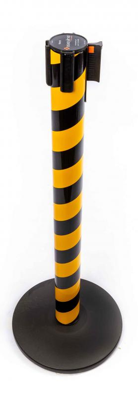 Pedestal Organizador, Demarcador, Divisor Modelo Neon Zebrado Preto / Amarelo Fita Personalizada (cx. 3 unid.)