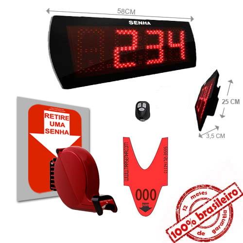 Painel Eletrônico de Senha Digital S-60-K 58X25 cm Controle Sem Fio Sequencial  + Kit TiraSenha para Parede