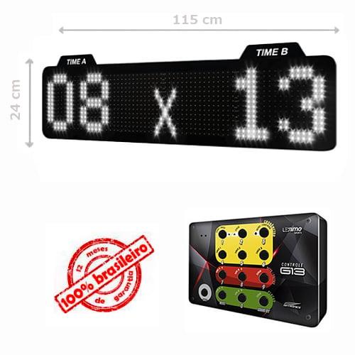 PAINEL LEDTIME XL 1464 - PLACAR ESPORTIVO TIME A / TIME B 115X24 CM COM CONTROLE G13