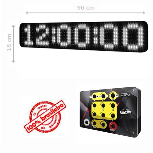 PAINEL LEDTIME XL  764 - CRONÔMETRO HORA / MINUTO / SEGUNDO - 90X15 CM COM CONTROLE G13