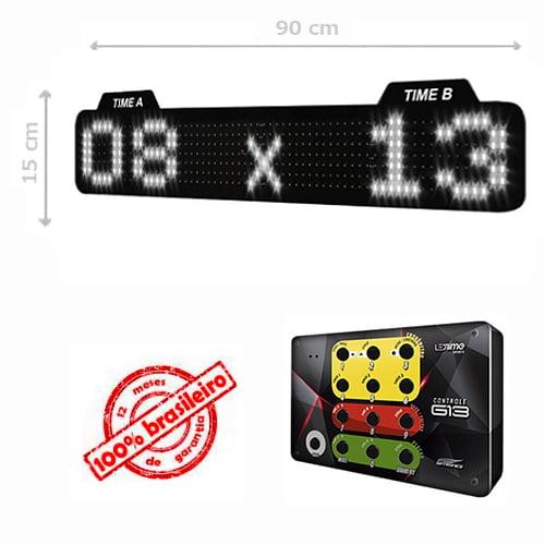 PAINEL LEDTIME XL  764 - PLACAR ESPORTIVO TIME A / TIME B 90X15 CM COM CONTROLE G13