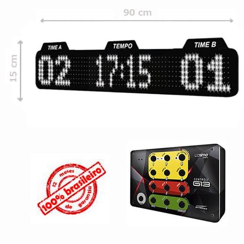 PAINEL LEDTIME XL  764 - PLACAR ESPORTIVO TIME A / TIME B / HORA / MINUTO 90X15 CM COM CONTROLE G13
