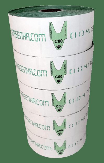 Rolo / Bobina de senha ALFA NUMERICA 2 dígitos de C01 a C99 com 2000 senhas Cor: VERDE