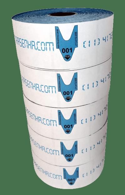 Rolo / Bobina de Senha Atendimento Numerada Colorida 3 Dígitos de 000 a 999 com 2000 Senhas Azul