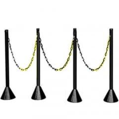 Pedestal Plastico Organizador de Fila Única Kit com 4 Pedestais + 6 m de Corrente PT (MÁX. 1 KIT POR PEDIDO)