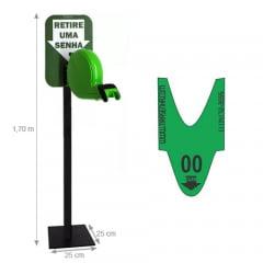 Dispensador de Senhas Completo c/ Suporte Pedestal de Chão, Placa Retire sua Senha Verde
