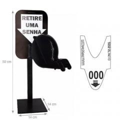 Dispensador de Senhas Completo c/ Suporte Pedestal de Balcão, Placa Retire sua Senha Preto
