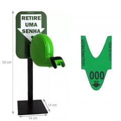 Dispensador de Senhas Completo c/ Suporte Pedestal de Balcão, Placa Retire sua Senha Verde