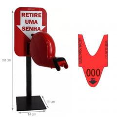 Dispensador de Senhas Completo c/ Suporte Pedestal de Balcão, Placa Retire sua Senha Vermelho