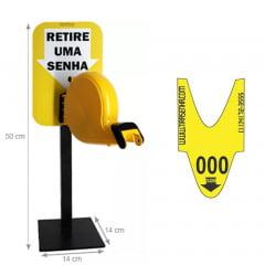 Dispensador de Senhas Completo c/ Suporte Pedestal de Balcão, Placa Retire sua Senha Amarelo