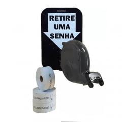 Dispensador de Senha Bico de pato Senhas Numeradas e Placa Retire Sua Senha Cinza