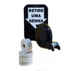 Dispensador de Senha Bico de pato Senhas Numeradas e Placa Retire Sua Senha Preto