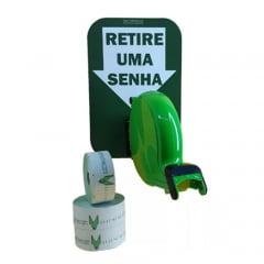 Dispensador de Senha Bico de pato Senhas Numeradas e Placa Retire Sua Senha Verde