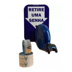 Dispensador de Senha Bico de pato Senhas Numeradas e Placa Retire Sua Senha Azul