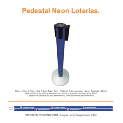 Pedestal Organizador, Demarcador, Divisor Modelo Neon Alumínio Padrão Lotérica (cx. 3 unid.)