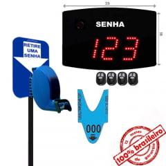 Painel Eletrônico De Atendimento Sequencial Senha 24X18 Cm Controle Sem Fio + Kit TiraSenha de Chão