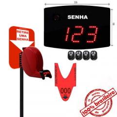 Painel Eletrônico de Senha Digital S-25-KC 24x18 cm Controle Sem Fio Sequencial + Kit TiraSenha Pedestal de Chão
