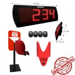 Painel Eletrônico de Senha Digital S-60-KB 58x25 cm Controle Sem Fio Sequencial + Kit TiraSenha Pedestal de Balcão