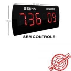 Painel Eletrônico de Senha e Guichê Digital SG-625 38x14 cm  e Controle Sem Fio Sequencial