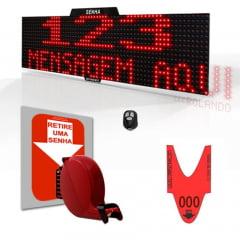 Painel Eletrônico de Senha e Mensagens Digital S-748-K 70x15 cm Controle Sem Fio Sequencial  + Kit TiraSenha para Parede
