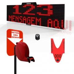 Painel Eletrônico de Senha e Mensagens Digital S-748-KC 70x15 cm Controle Sem Fio Sequencial  + Kit TiraSenha Pedestal de Chão