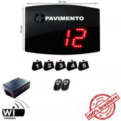 Painel Eletrônico Digital S-25-GP 24x18 cm Chama ELEVADOR com Controle Sem Fio + Kit Chamadores para PAVIMENTOS c/ Amplificador de Sinal