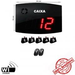 Painel Eletrônico Digital S-25-GC 24x18 cm Chama RETAGUARDA com Controle Sem Fio + Kit Chamadores para CAIXAS