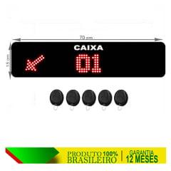PAINEL ORIENTADOR DE FILAS S-748-GC CAIXA 70X15 CM COM CONTROLE SEM FIO, SETA DE DIREÇÃO E MENSAGENS