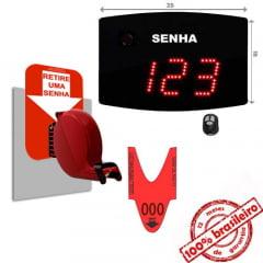 Painel Eletrônico De Atendimento Sequencial Senha 24X18 Cm Controle Sem Fio + Kit TiraSenha de Parede
