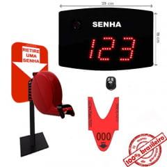 Painel Eletrônico De Atendimento Sequencial Senha 24X18 Cm Controle Sem Fio + Kit TiraSenha de Balcão