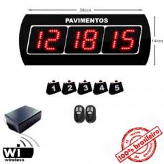 Painel Eletrônico Digital S-625-GP 38X14 cm Chama ELEVADOR com Controle Sem Fio c/ Amplificador de Sinal + Kit Chamadores para PAVIMENTOS