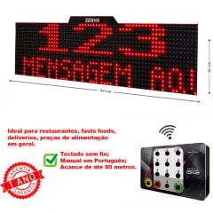 Painel Eletrônico de Atendimento 64x16 cm Duplo 3 ou 4 Dígitos Com Exibição de Mensagens Senha Alternada ou Sequencial com Teclado Numérico sem fio