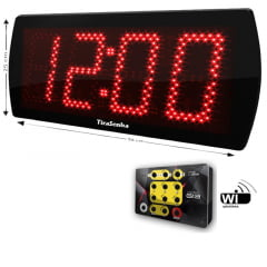 Painel Eletronico 58X25 cm Cronômetro / Relógio Digital Controle Sem Fio G13
