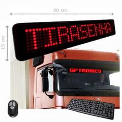 PAINEL DE LED ELETRÔNICO PARA MENSAGENS VEICULAR SLIM TAB 764 - 90x15 CM C/ TECLADO E CONTROLE WI