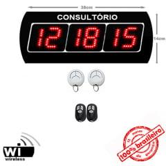 Painel Eletrônico Digital de Chamada S-625-GO - 38x14 cm para Consultórios c/ controle sem fio