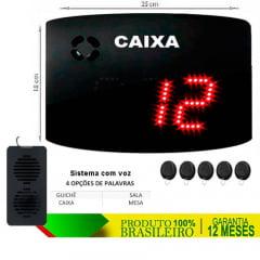PAINEL ORIENTADOR DE FILAS COM VOZ S-25-GVOX CAIXA GUICHE SALA MESA 24X18 CM COM CONTROLE SEM FIO