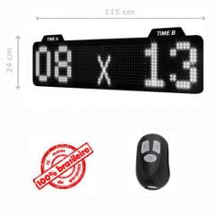 PAINEL LEDTIME XL 1464 - PLACAR ESPORTIVO TIME A / TIME B 115X24 CM COM CONTROLE