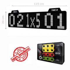 PAINEL LEDTIME XL 1464 - PLACAR ESPORTIVO TIME A / TIME B / SET / FALTA 115X24 CM COM CONTROLE G13