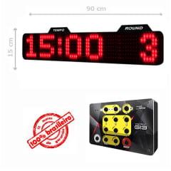 PAINEL LEDTIME XL  764 - CRONÔMETRO HORA / MINUTO / ROUND - 90X15 CM COM CONTROLE G13